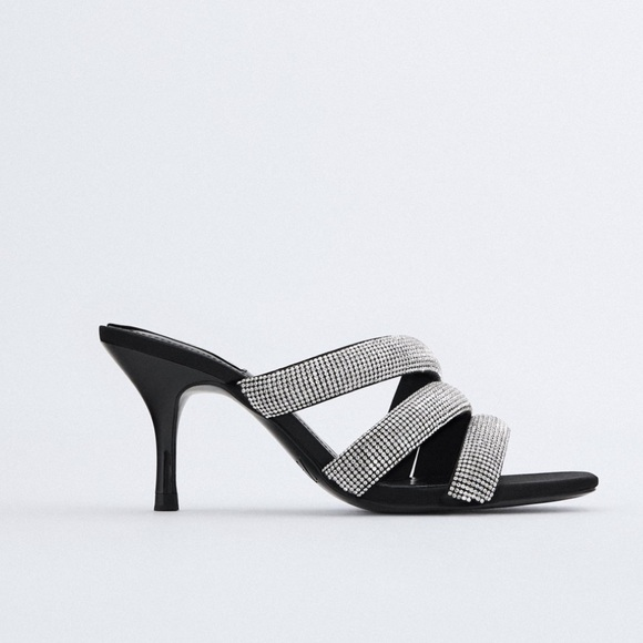 NWT ZARA Sparkly Strap Heeled Sandals 9/40